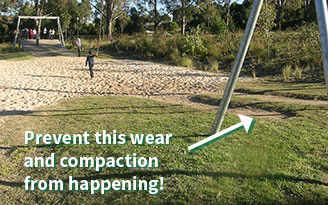 Avoid compacted ground like this in playgrounds by using Living Soft Fall™